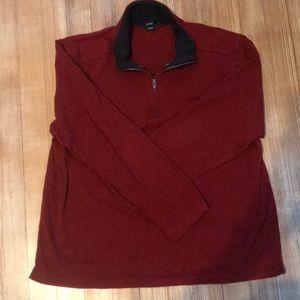 J. Crew men's red pullover shirt/ sweater w/zipper